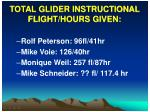 total glider instructional flight hours given