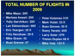 total number of flights in 2009