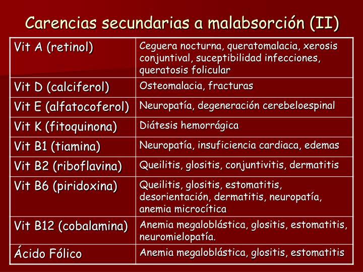 Carencias secundarias a malabsorción (II)