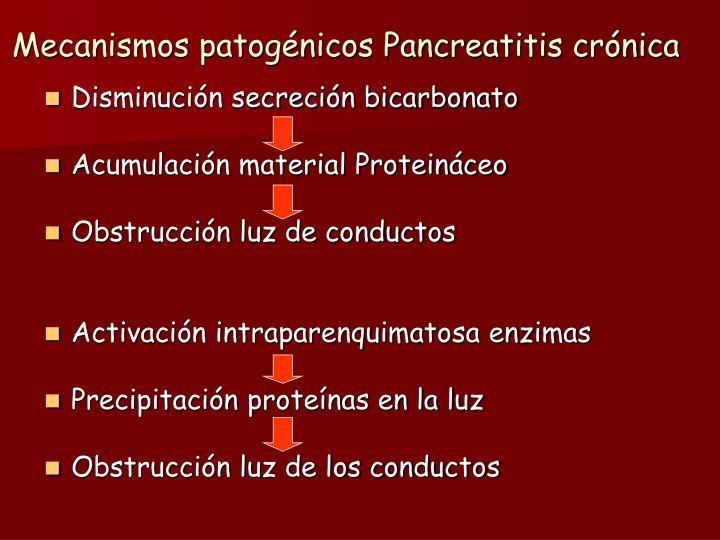 Mecanismos patogénicos Pancreatitis crónica