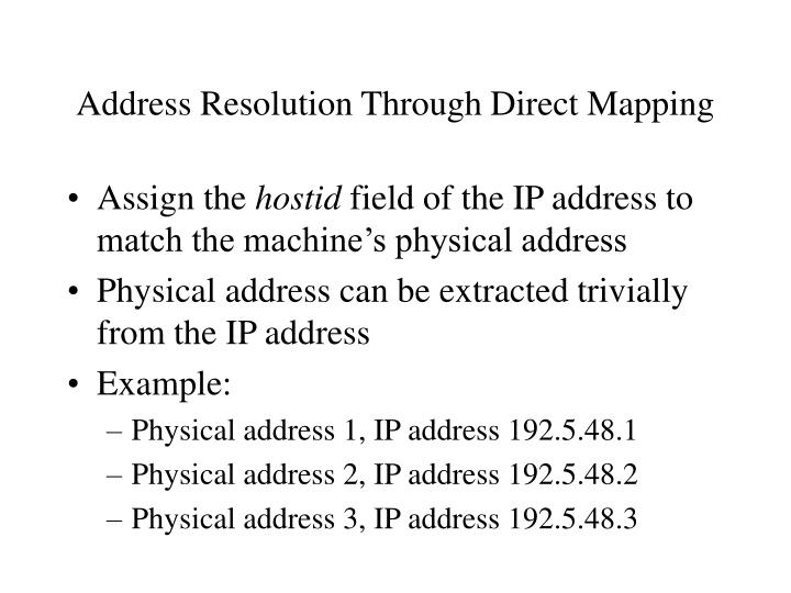 Address Resolution Through Direct Mapping