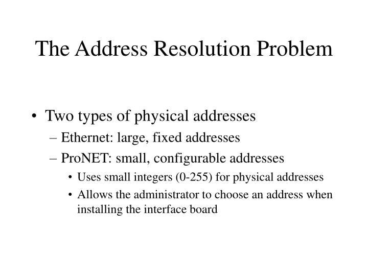 The Address Resolution Problem