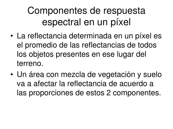 Componentes de respuesta espectral en un píxel