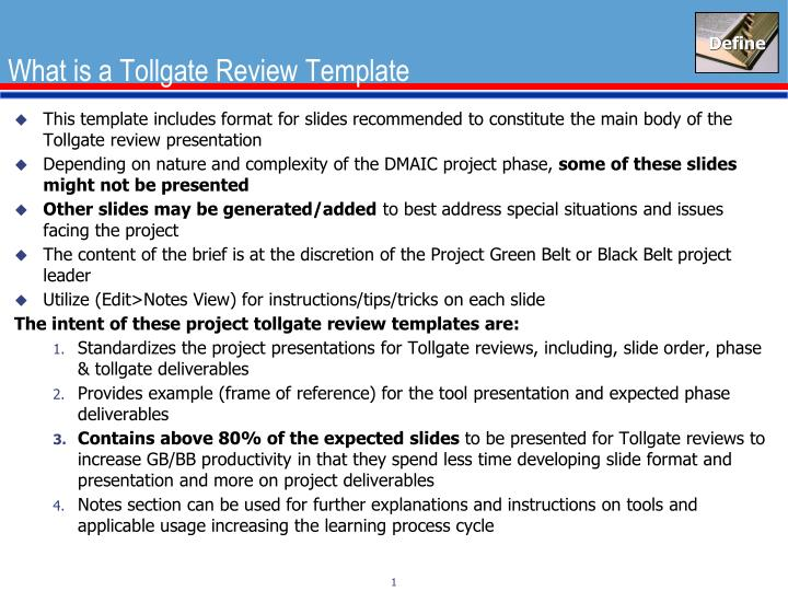 What Is A Tollgate Review Template PowerPoint Presentation