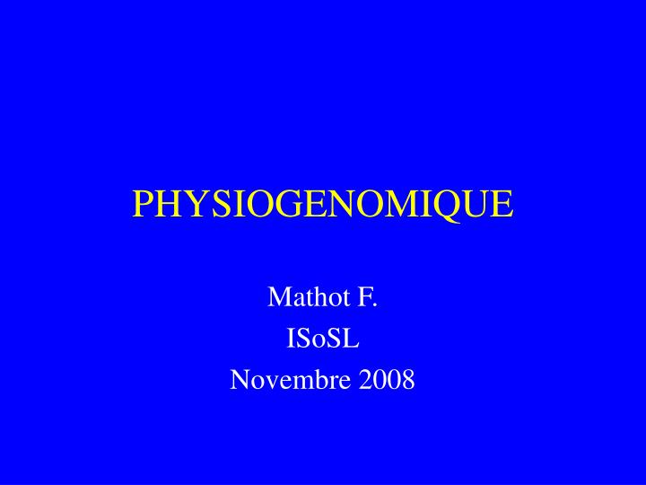 physiogenomique n.