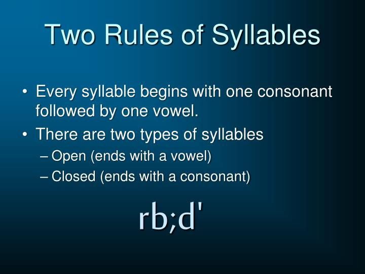 Two rules of syllables