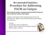 procedure for addressing pacm on campus