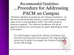 procedure for addressing pacm on campus2
