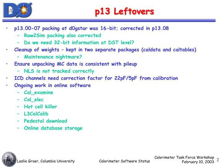 P13 leftovers