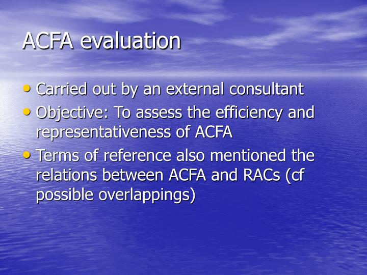 ACFA evaluation