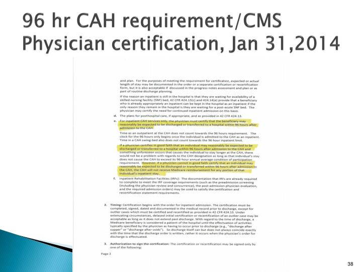 96 hr CAH requirement/CMS Physician certification, Jan 31,2014