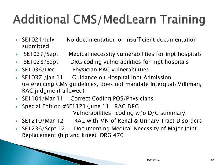 Additional CMS/MedLearn Training