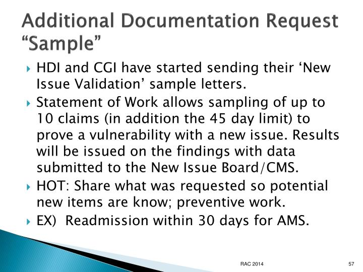 "Additional Documentation Request ""Sample"""