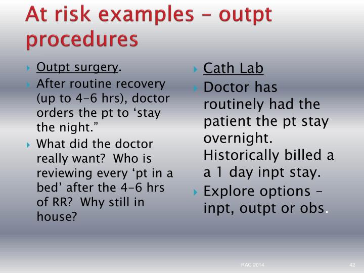 At risk examples –