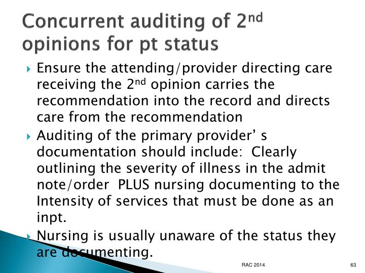 Concurrent auditing of 2