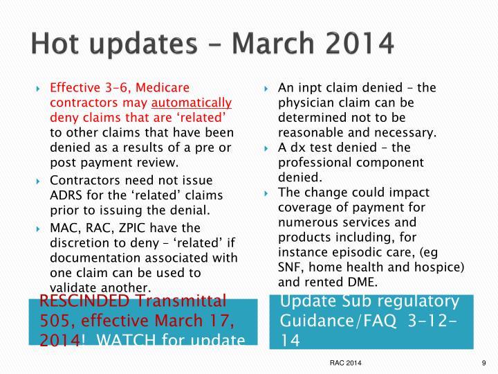 Hot updates – March 2014