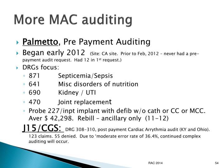 More MAC auditing