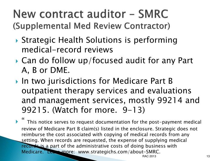 New contract auditor – SMRC