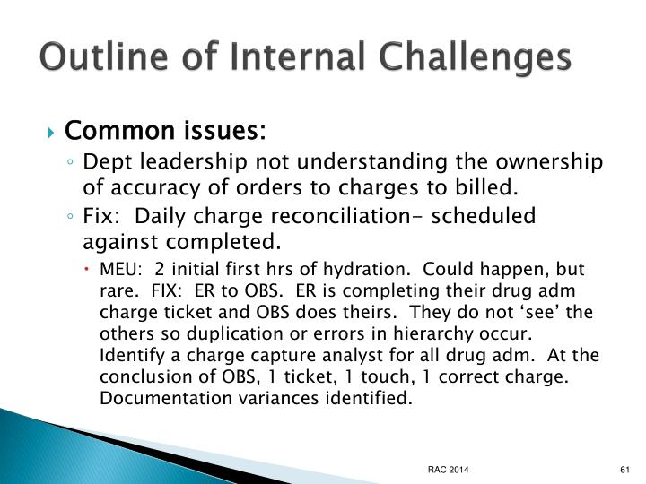 Outline of Internal Challenges