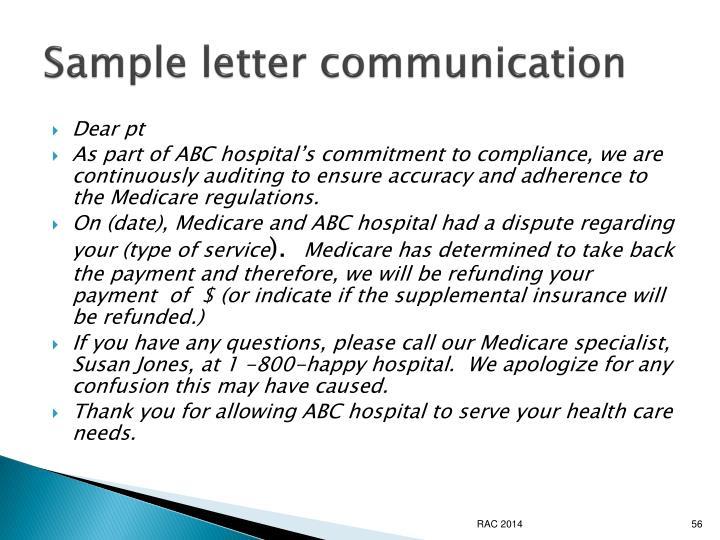Sample letter communication