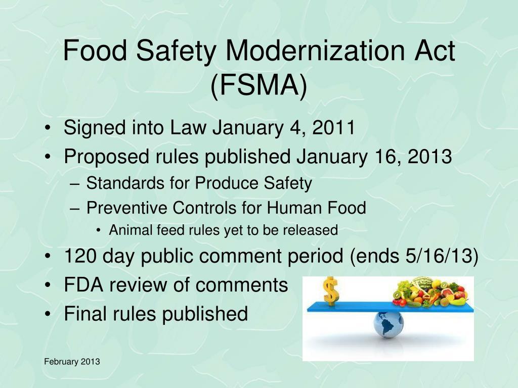 PPT - Food Safety Modernization Act PowerPoint Presentation