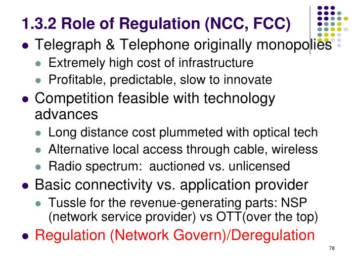 1.3.2 Role of Regulation (NCC, FCC)