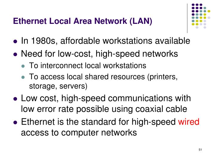 Ethernet Local Area Network (LAN)