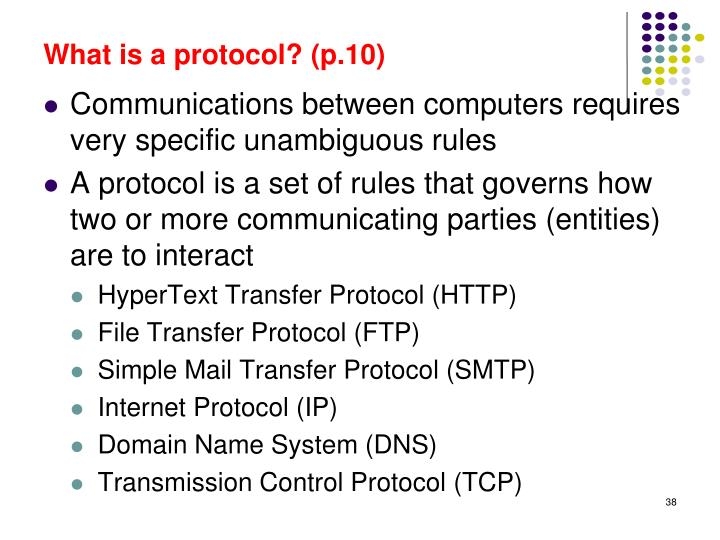 What is a protocol? (p.10)
