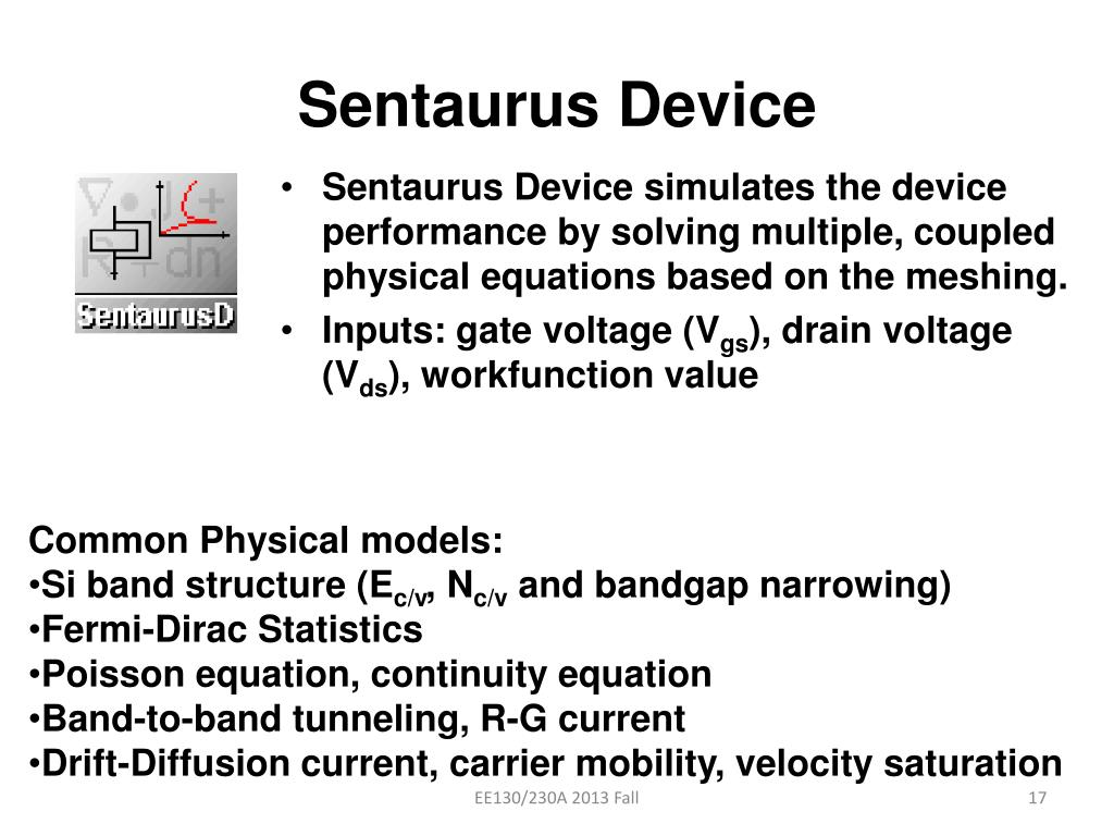 PPT - Synopsys Sentaurus Tutorial - For EE130/230A Project