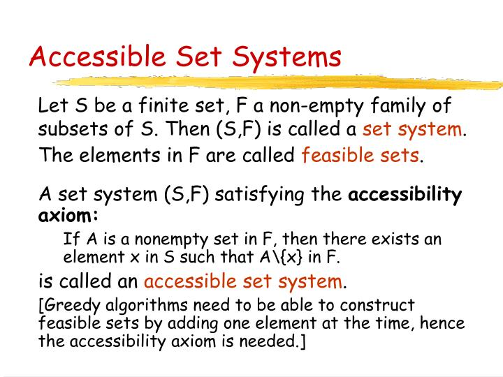Accessible Set Systems