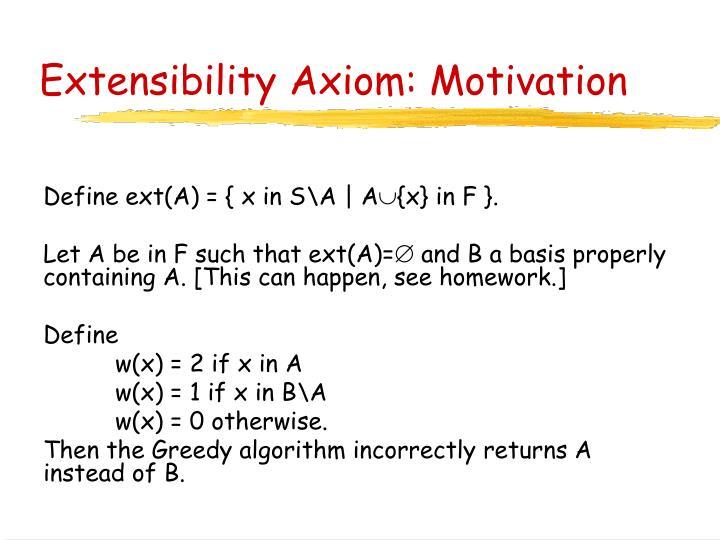 Extensibility Axiom: Motivation