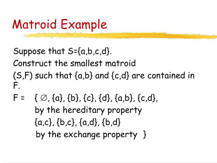 Matroid Example