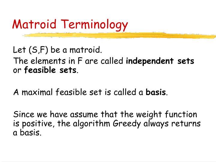 Matroid Terminology