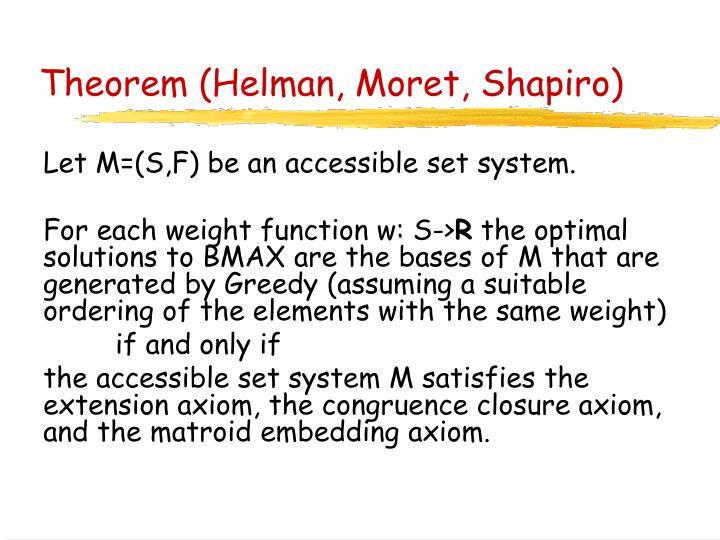 Theorem (Helman, Moret, Shapiro)
