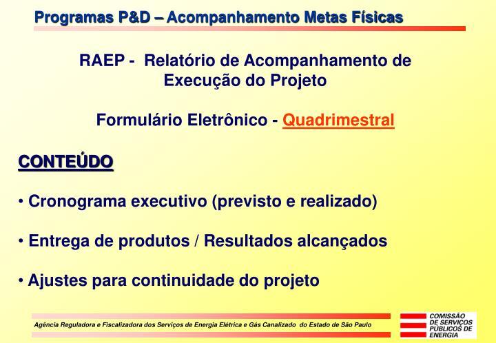 Programas P&D – Acompanhamento Metas Físicas