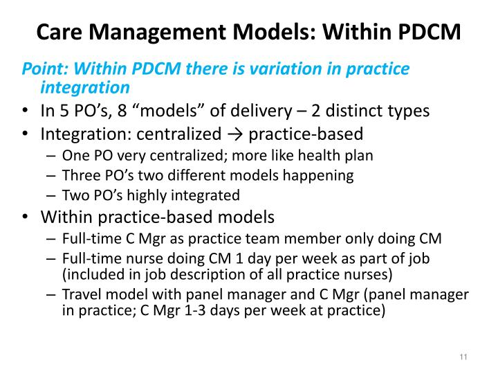 Care Management Models: Within PDCM