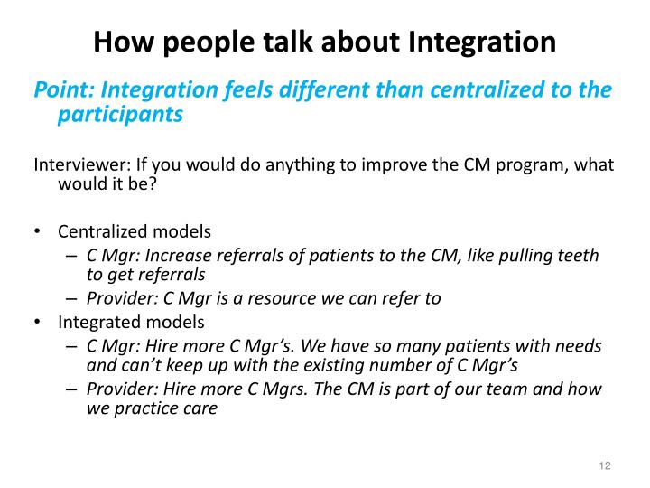 How people talk about Integration