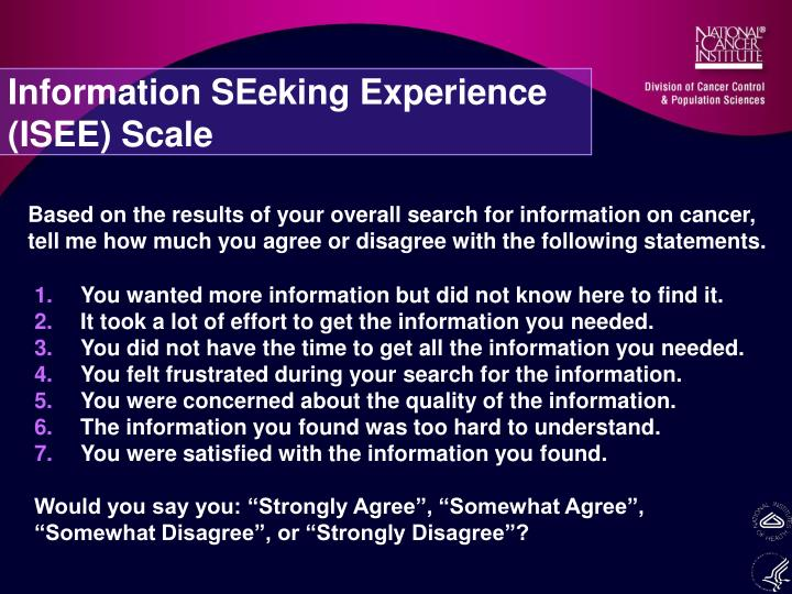 Information SEeking Experience (ISEE) Scale