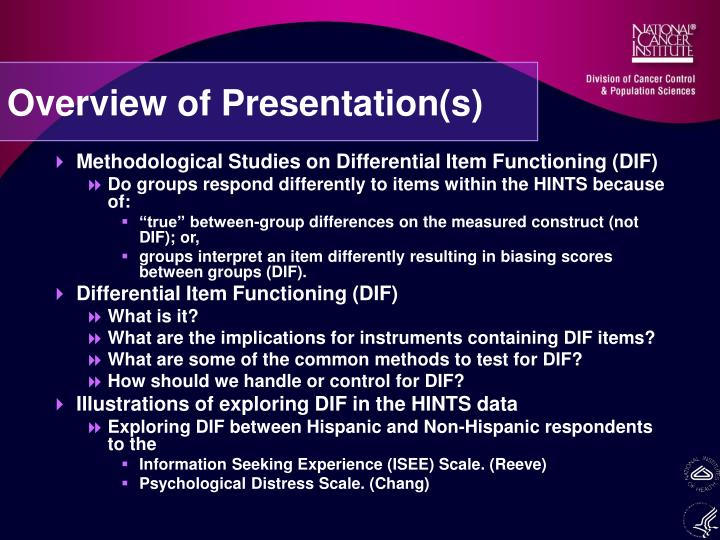Overview of presentation s