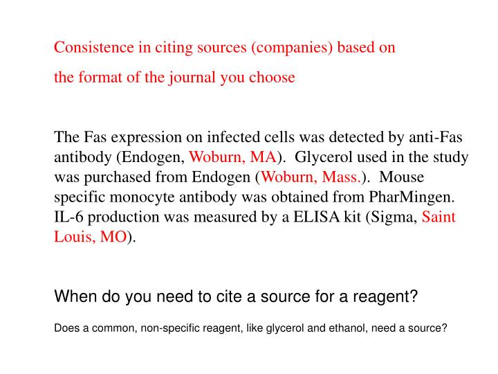 Consistence in citing sources (companies) based on