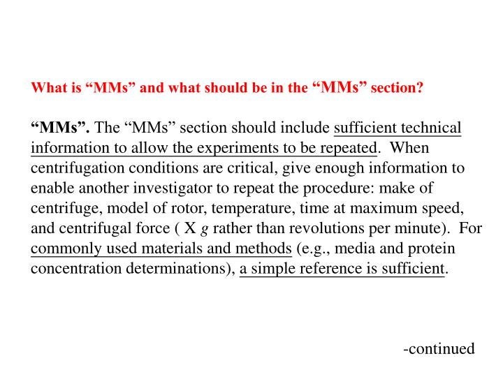 """What is """"MMs"""" and what should be in the"""