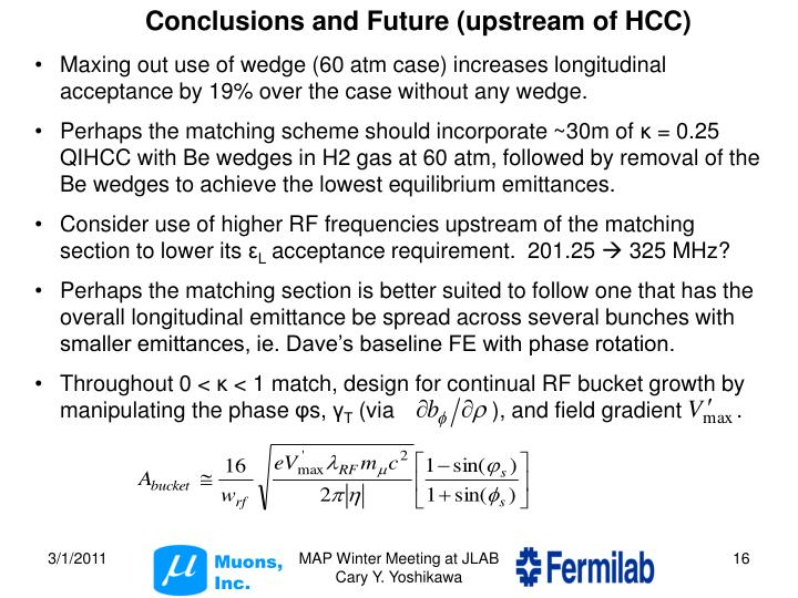 Conclusions and Future (upstream of HCC)