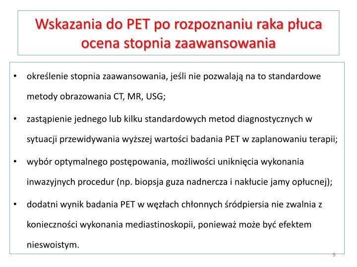 Wskazania do PET po rozpoznaniu raka