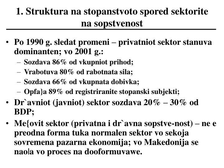 1. Struktura na stopanstvoto spored sektorite na sopstvenost