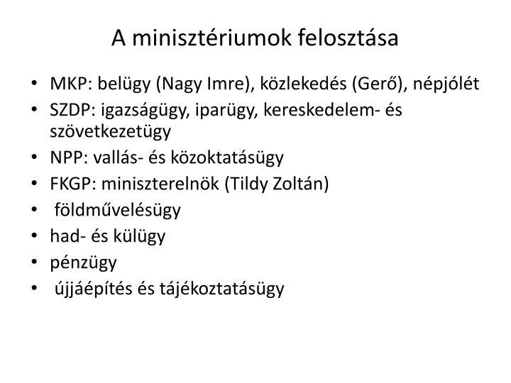 A minisztériumok felosztása