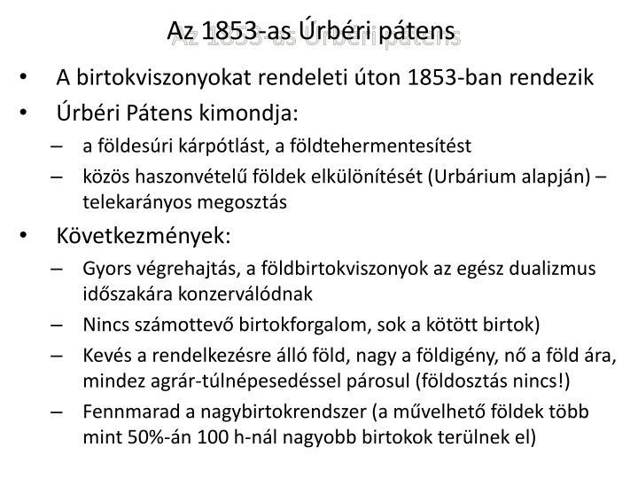 Az 1853-as Úrbéri pátens