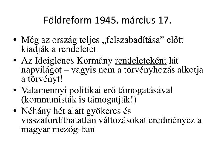 Földreform 1945. március 17.