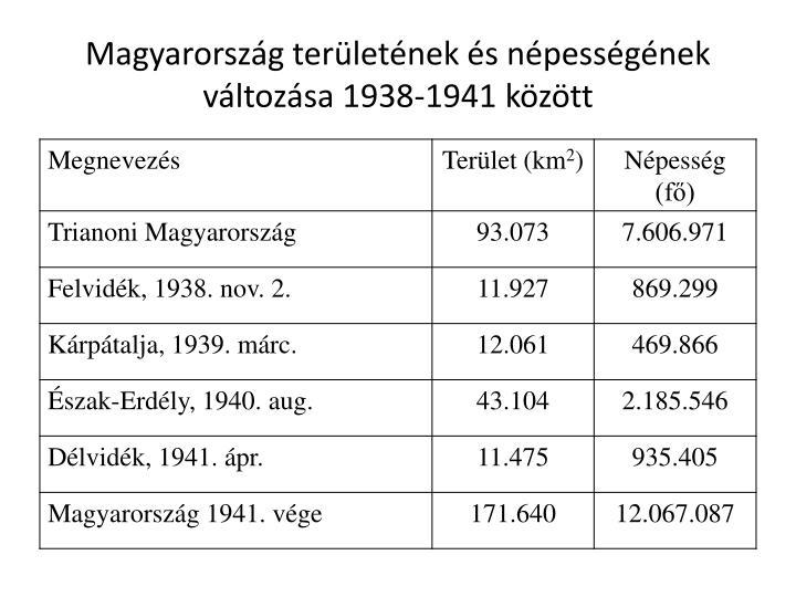 Magyarország területének és népességének változása 1938-1941 között