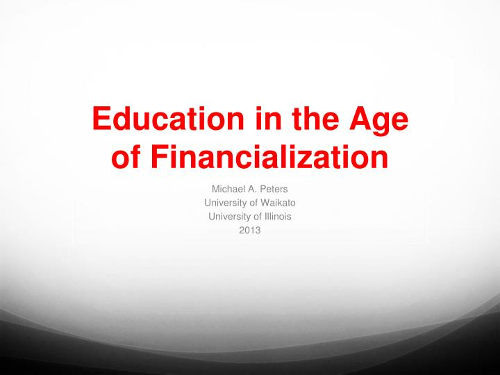 education in the age of financialization n.