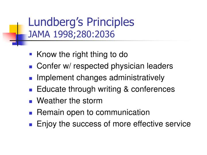 Lundberg's Principles